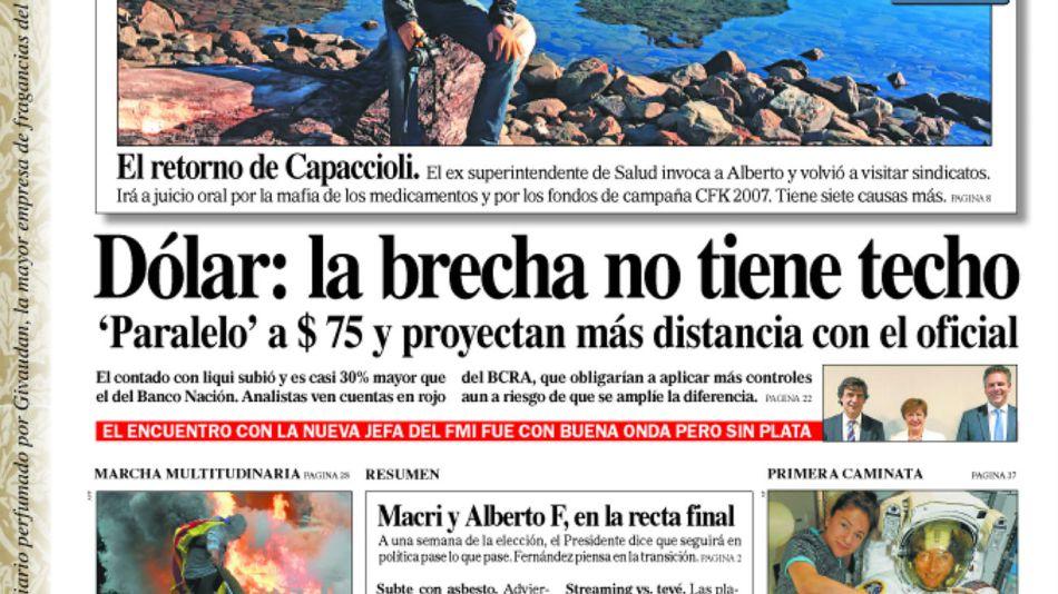 La tapa del Diario PERFIL del sábado 19 de octubre de 2019.