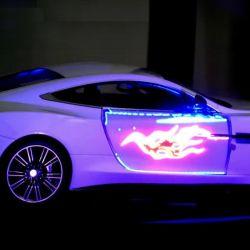 Un auto de juguete sometido al proceso de Photochromoleon. Captura Youtube.