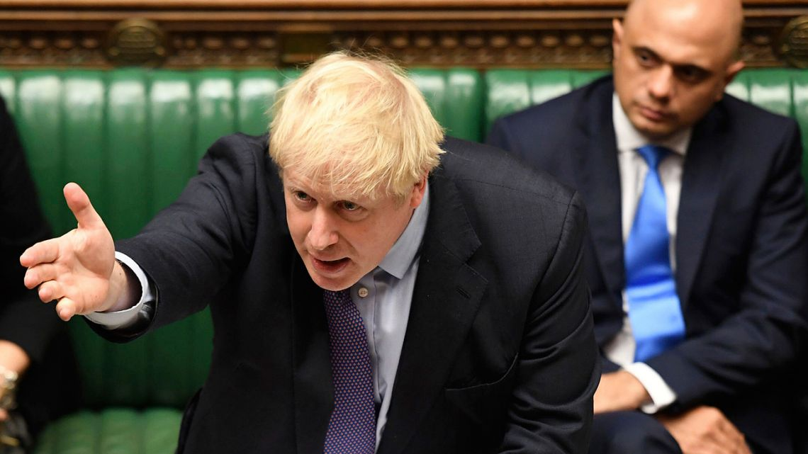 Britain's Prime Minister Boris Johnson gestures as he speaks in the House of Commons in London during the debate for the EU Withdrawal Agreement Bill, Tuesday October 22, 2019.