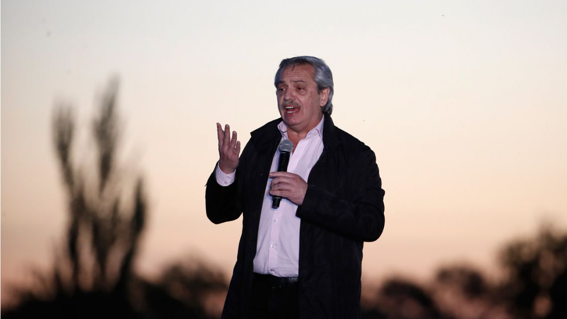 Presidential candidate Alberto Fernández speaks during a campaign rally in Santa Rosa.