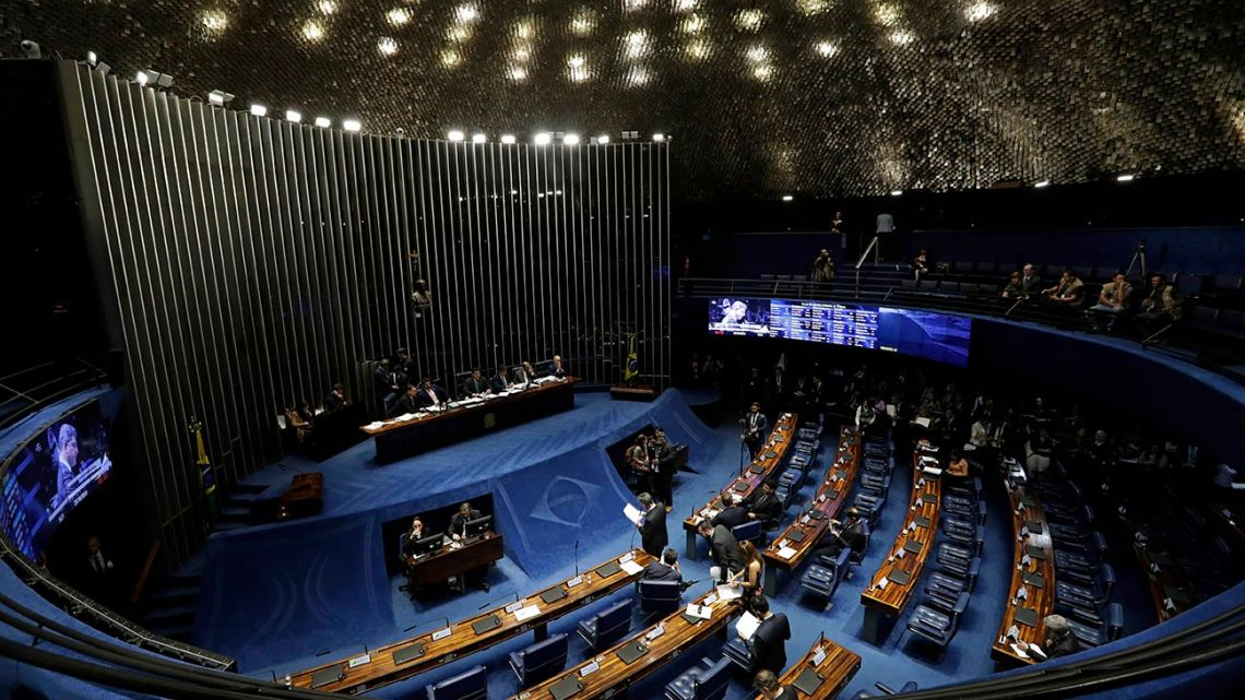 The Senate holds a final vote on pension reform in Brasilia, Brazil, Tuesday, Oct. 22, 2019. The most meaningful impact of the reform is the establishment of a minimum age for retirement at 65 for men and 62 for women.