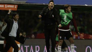 Marcelo Gallardo festeja la clasificación a la final de la Copa Libertadores.