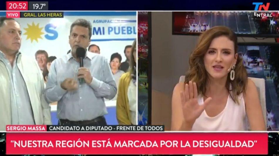 Sergio Massa fue entrevistado durante un acto en General Las Heras.