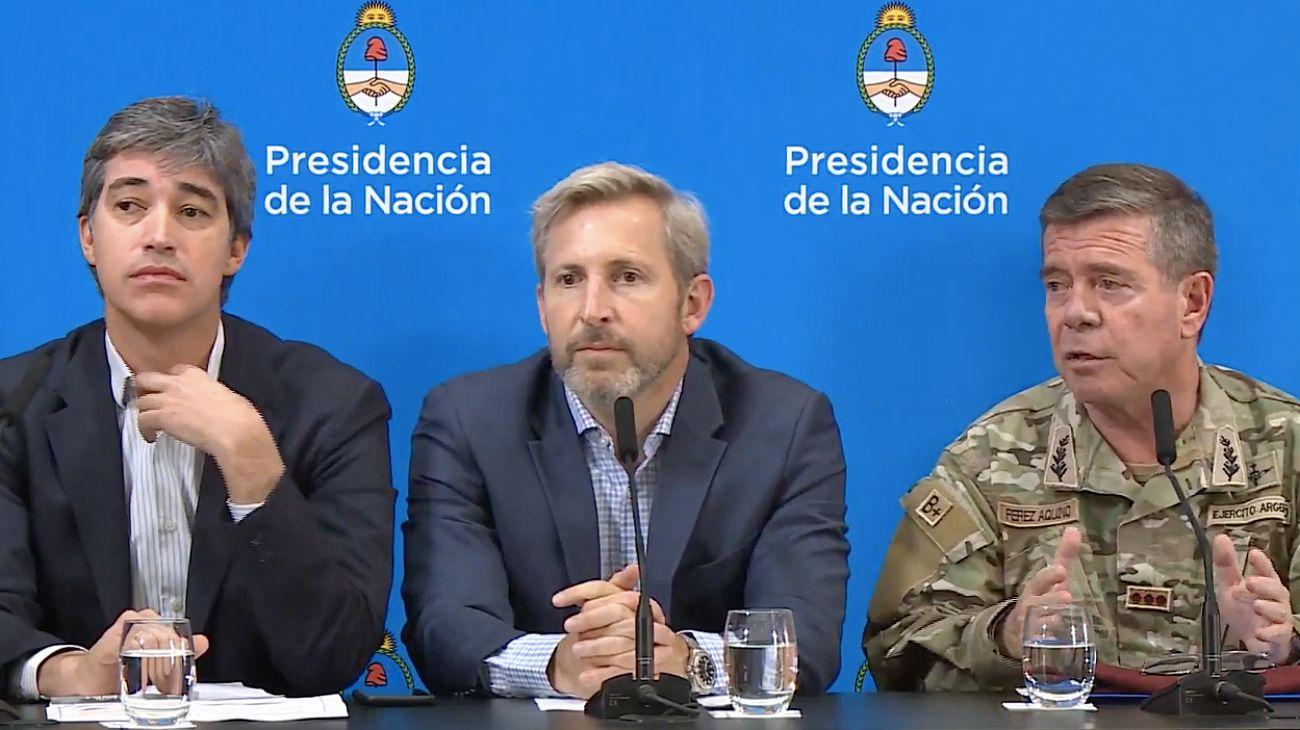 Rogelio Frigerio y Adrián Pérez, en conferencia de prensa.