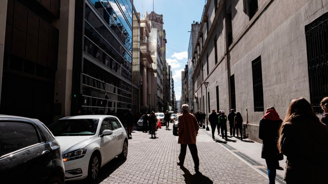Inside the financial district of Buenos Aires.