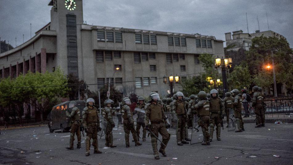 Los militares en las calles de Santiago de Chile.