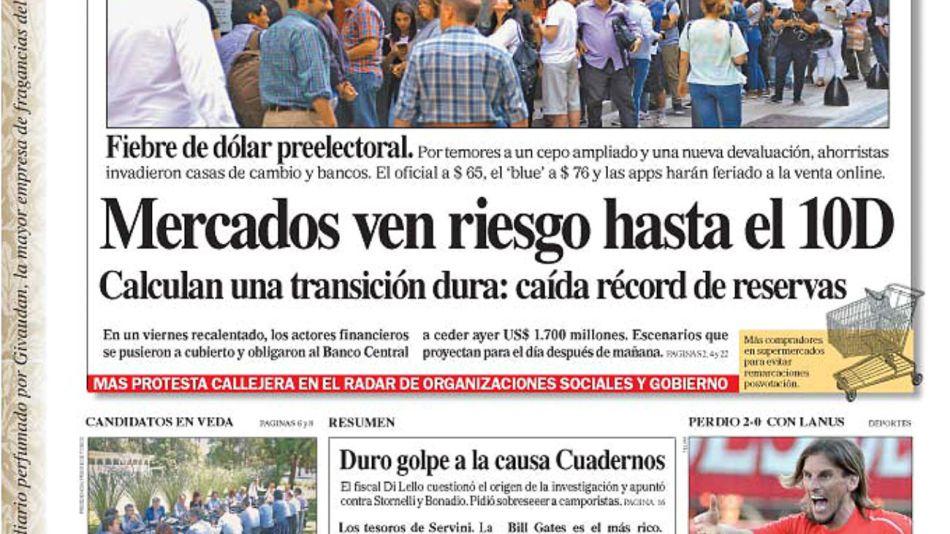 La tapa del Diario PERFIL del sábado 26 de octubre de 2019.