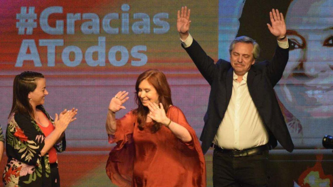 Cristina Kirchner y Alberto Fernández, junto en el búnker.