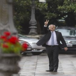 Alberto Fernández leaves La Casa Rosada after his meeting with outgoing president Mauricio Macri