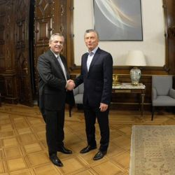 President Mauricio Macri and President-Elect Alberto Fernández, pictured during their meeting at the Casa Rosada this morning.