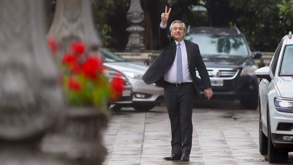 President-elect Alberto Fernández arrives at the Casa Rosada, ahead of his meeting with President Mauricio Macri on Monday.
