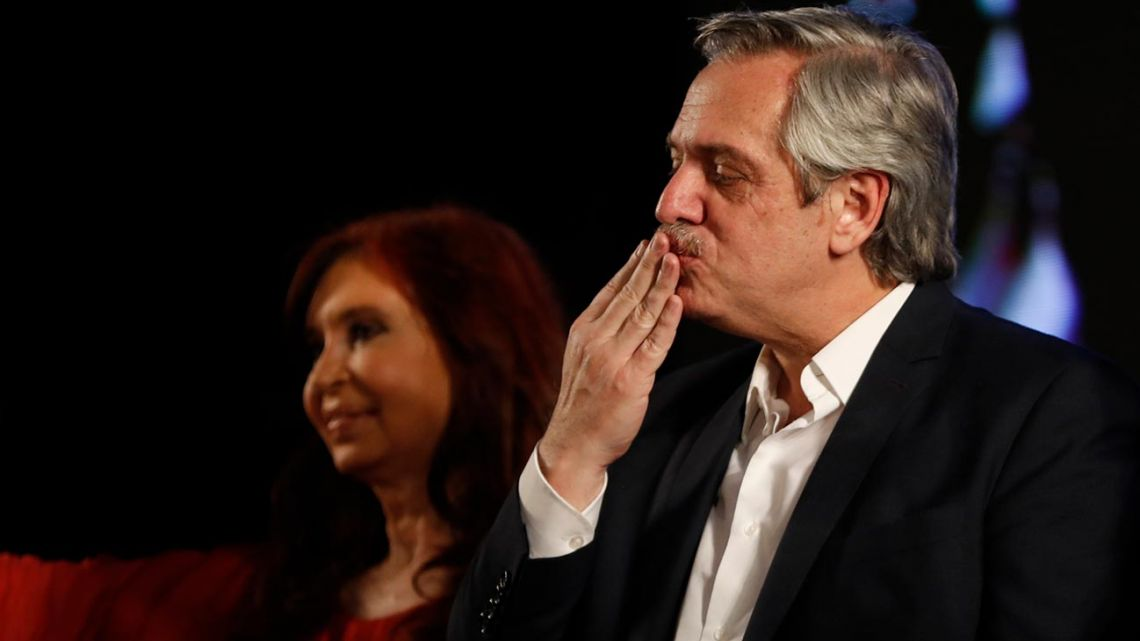 Peronist presidential candidate Alberto Fernández blows a kiss to supporters after incumbent President Mauricio Macri conceded defeat on Sunday night.