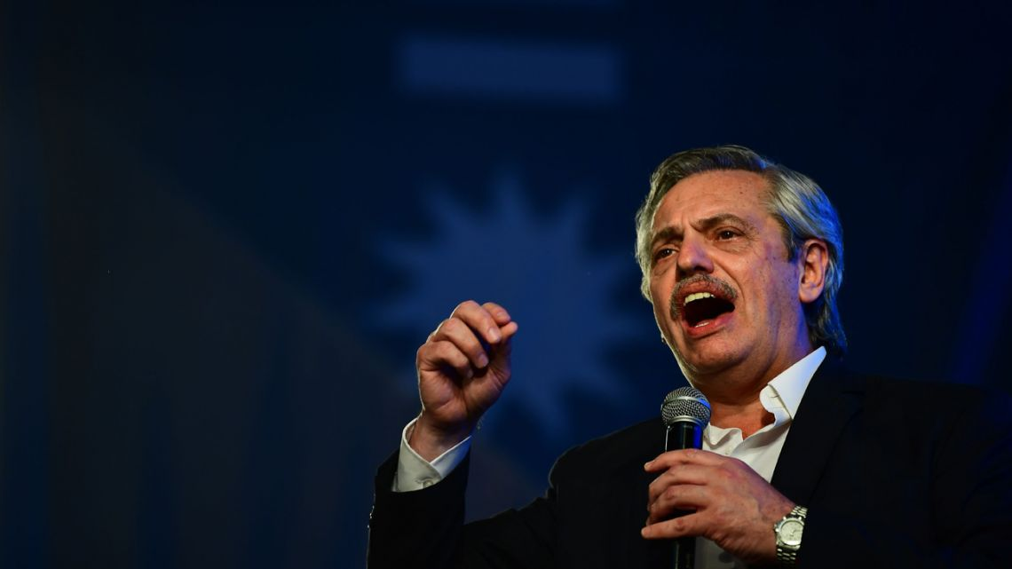 Presidential candidate for Frente de Todos Alberto Fernández addresses supporters after being elected as new president, at the headquarters of the party in Buenos Aires.