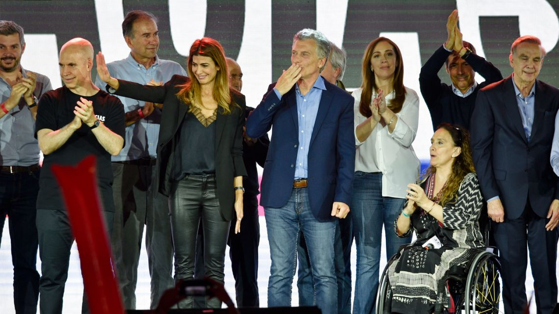 President Mauricio Macri, who was running for re-election, blows a kiss to supporters after conceding the election.