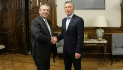La foto tras la reunión entre Alberto Fernández y Mauricio Macri.