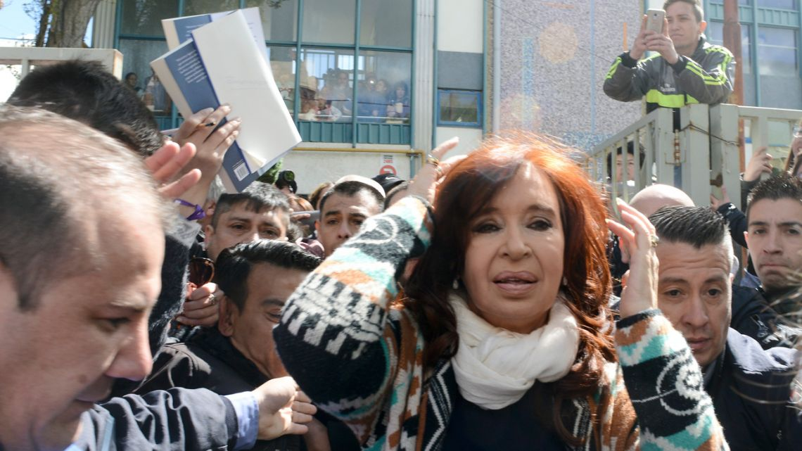 Cristina Fernández de Kirchner leaves a poling station after voting in Río Gallegos on Sunday, October 27, 2019.