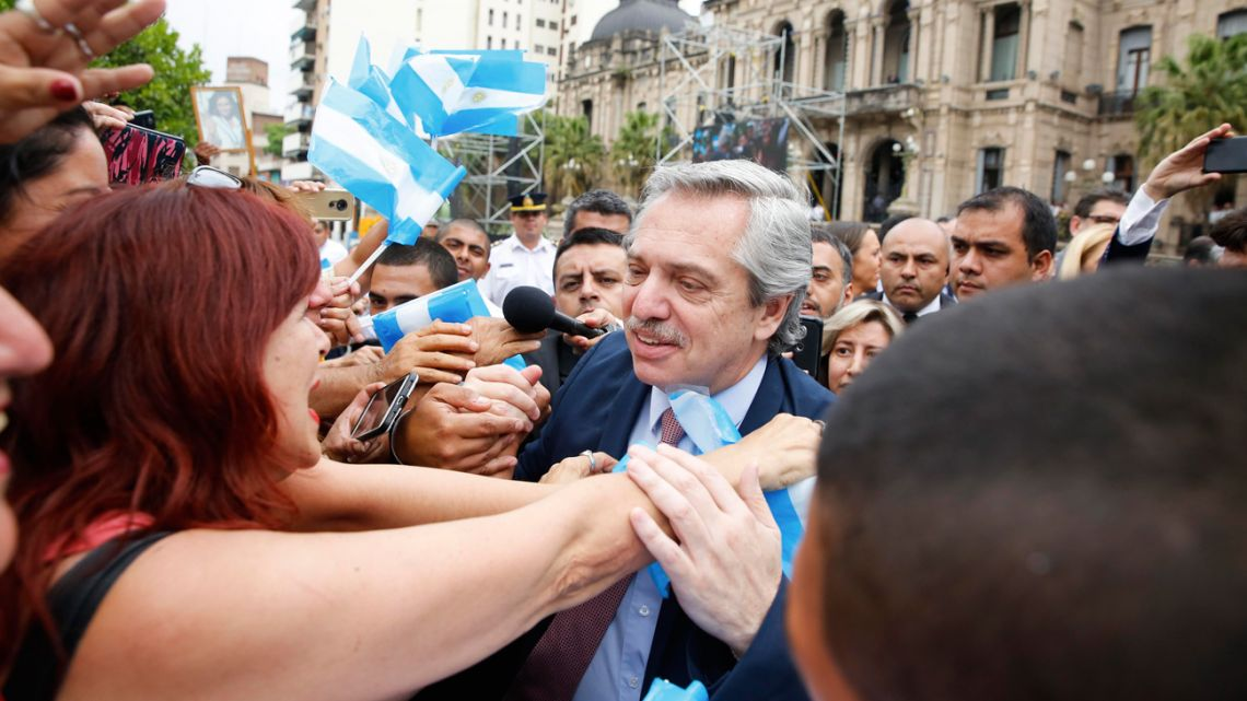President-elect Alberto Fernández is greeted by supporters as he arrived in Tucumán on Tuesday.