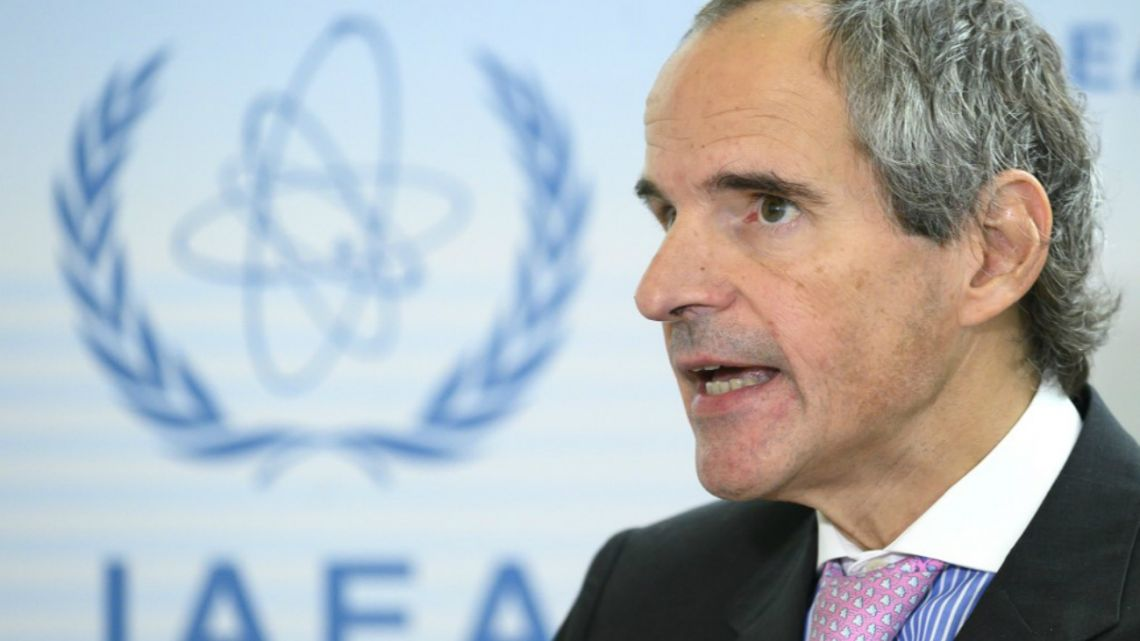 Argentina's Mariano Grossi, speaks to the press after his hearing for the position of the new General Secretary of the IAEA in Vienna, Austria.
