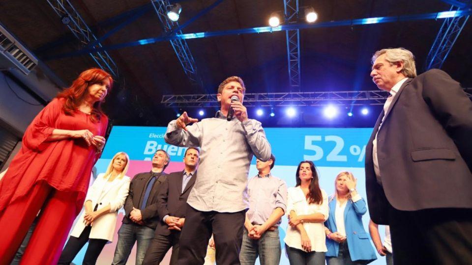 Axel Kicillof, gobernador electo en el búnker del Frente de Todos.