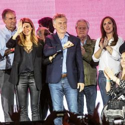 Mauricio Macri junto Juliana Awada, a María Eugenia Vidal, Larreta, Michetti y equipo. | Foto:Juan Ferrari