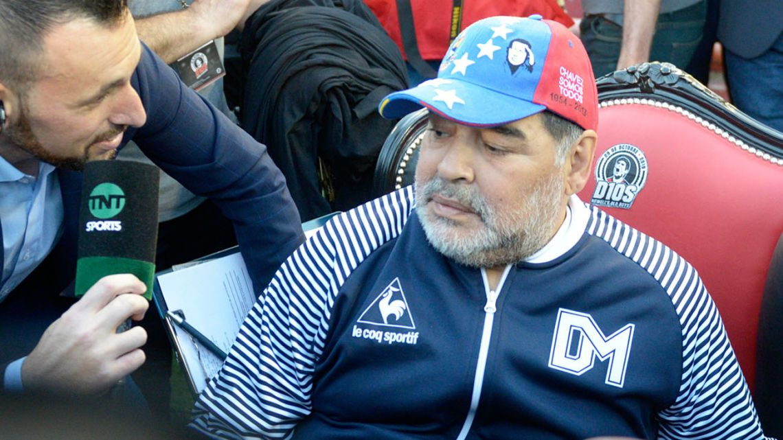 Maradona on his throne.