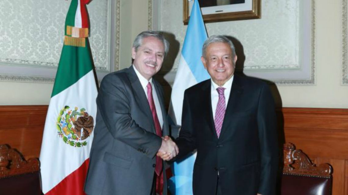 Alberto Fernández and Andres Manuel López Obrador after their bilateral discussions in Mexico City Monday.