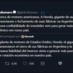 El mensaje que Jair Bolsonaro publicó en Twitter y luego borró.