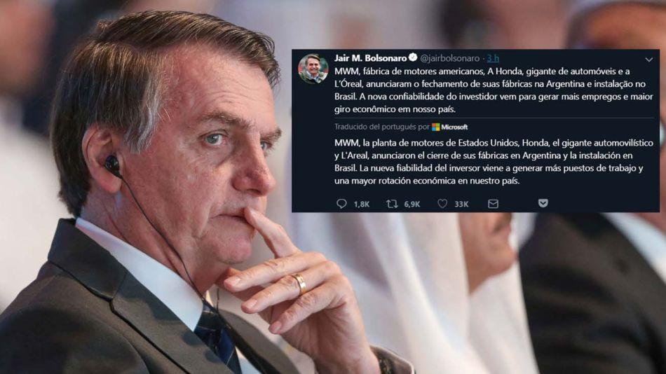 Jair Bolsonaro publicó un mensaje en Twitter sobre la industria argentina que luego borró.