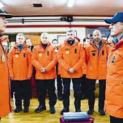 Marcos Peña y otros ministros en la Base Marambio. | Foto:cedoc
