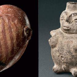 Referencias. Vasijas de  cerámica antropomorfas del período formativo (500 a.C.- 500 d.C.). | Foto:Gentileza Matteo Goretti.