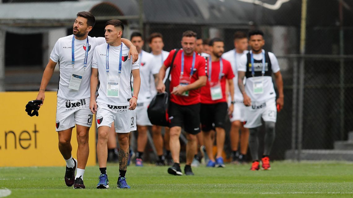 Colón players at the Olimpia Stadium in Asunción, Paraguay, on Thursday, November 7, 2019. Colón will play Ecuador's Independiente del Valle on Saturday in the Copa Sudamericana final.