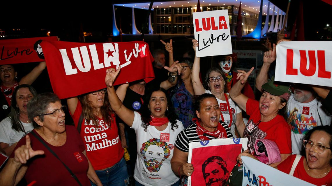 Supporters of Luiz Inácio Lula da Silva, celebrate a Supreme Court decision that may free the jailed former Brazil president, outside the Supreme Court in Brasilia, Brazil, Thursday, November 7, 2019