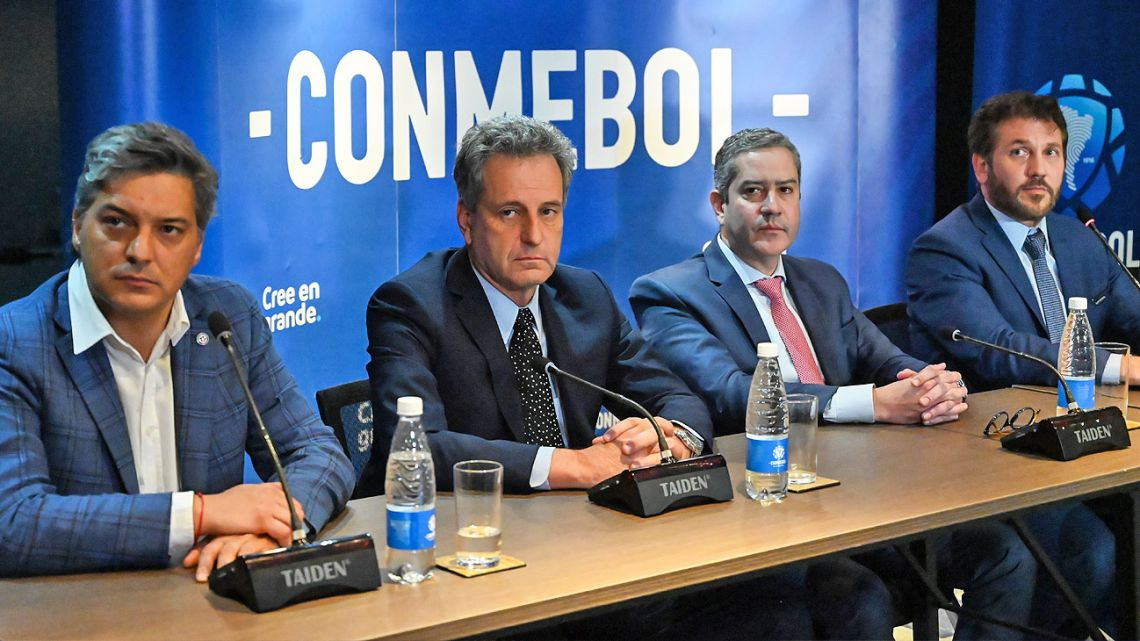 CONMEBOL officials hold a press conference announcing the location of the Libertadores Cup final in Luque, Paraguay.