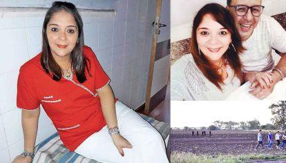 Victima. La joven iba a casarse con su pareja en febrero de 2020 (arriba). Abajo: la escena donde fue hallado su cadáver, en un descampado ubicado a unos seis kilómetros de su casa en San Nicolás.