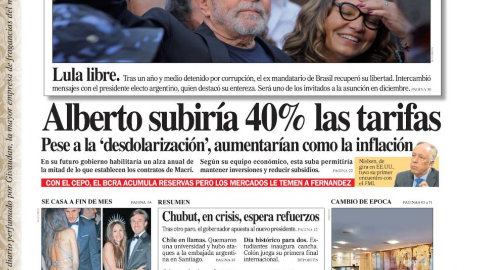 La Tapa de Diario PERFIL sábado 9 de noviembre de 2019.