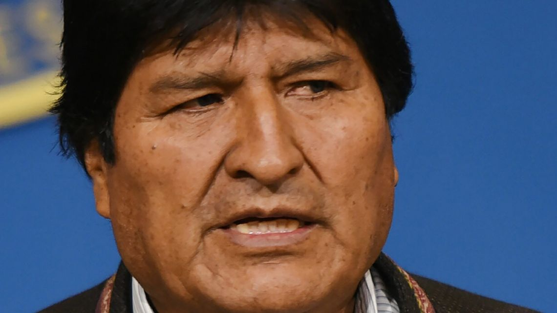 Handout picture released by the Bolivian Presidency showing Bolivian President Evo Morales offering a press conference in El Alto, on November 10, 2019. Morales said Sunday he would call new general elections and renew all the judges on the election tribunal, following an OAS report invalidating the previous poll, bowing to demands to do so after three weeks of deadly protests amid charges he had won a fourth consecutive term through fraud.