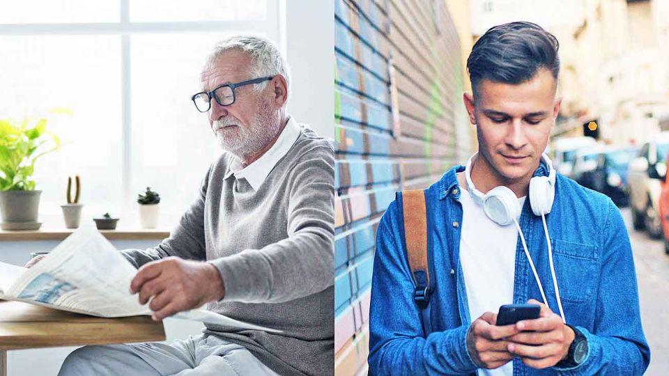 Edades. Mientras los jóvenes eligen más la digitalidad, los mayores optan por el papel. Pero cuando hay diario en las casas, todos lo ven, con distintos niveles de lectura.