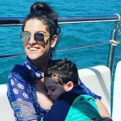 Juana Repetto con su hijo