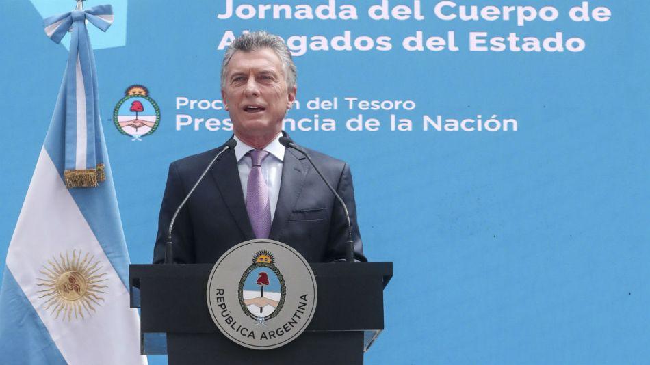 El presidente Mauricio Macri abrió esta mañana la Jornada del Cuerpo de Abogados del Estado.
