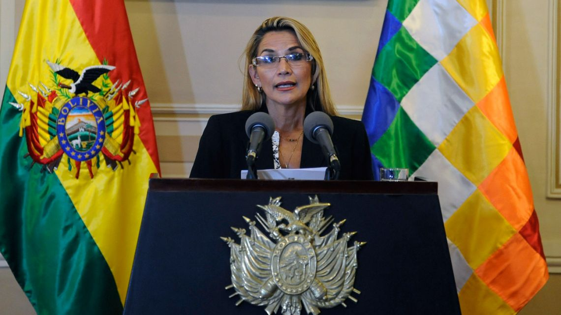 Bolivia's self-declared president, Jeanine Añez, speaks during a press conference at the Quemado presidential palace in La Paz, on November 13, 2019.