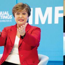 Hans Humes, de Greylock, y Laurence Fink, de Blackrock. Capitana. La búlgara Kristalina Georgieva jefa del FMI. | Foto:Fotos: Cedoc.