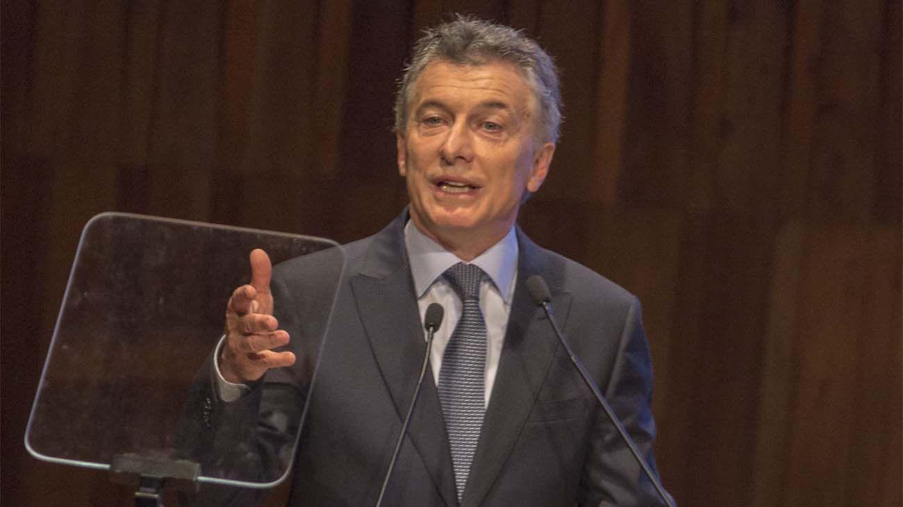 El presidente Mauricio Macri en el Centro Cultural Kirchner.