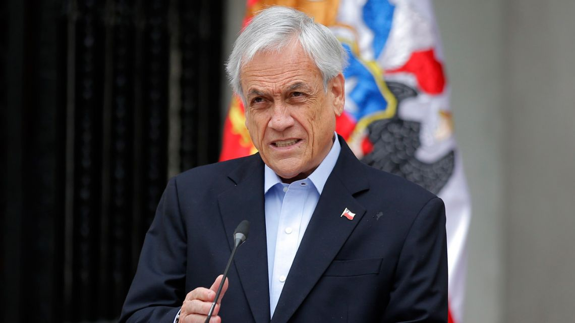 Chilean President Sebastián Piñera addresses the nation in Santiago.