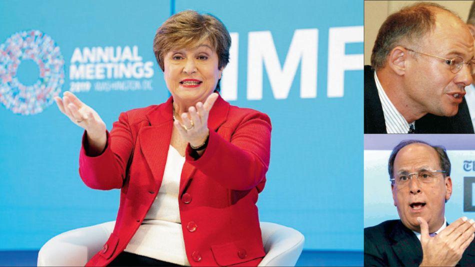 Hans Humes, de Greylock, y Laurence Fink, de Blackrock. Capitana. La búlgara Kristalina Georgieva jefa del FMI.