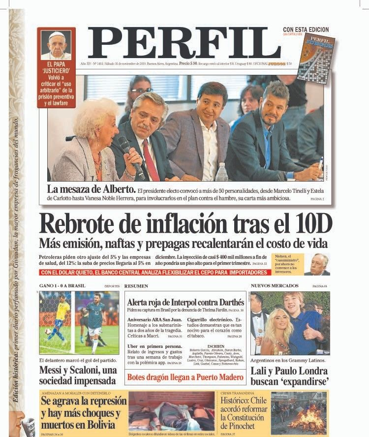 La tapa de diario PERFIL de este sábado 16 de noviembre - Perfil.com