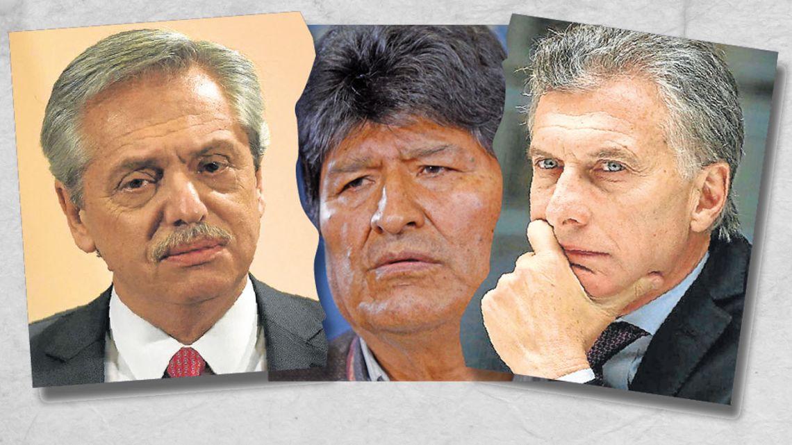 Alberto Fernández, Evo Morales and Mauricio Macri.