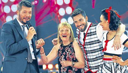 Plato. Marcelo Tinelli y su varita mágica del rating. Nico Occhiato, su abuela y su partenaire van por la gloria.