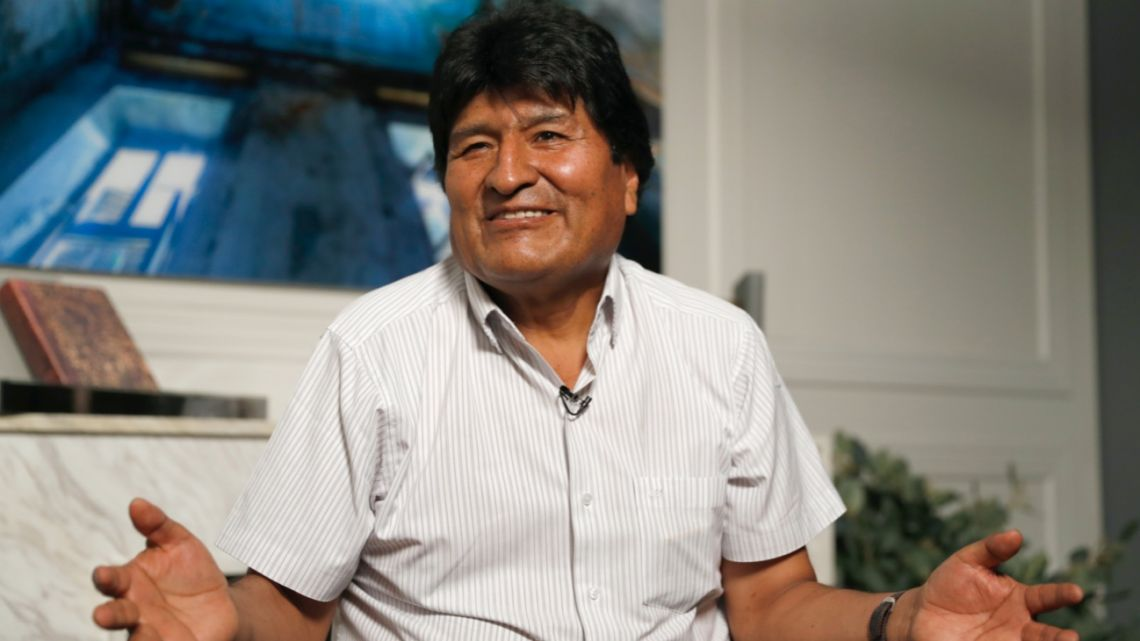 Former Bolivian President Evo Morales speaks during an interview with AP from Mexico City.