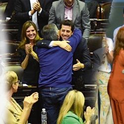 Eduardo Wado de Pedro con Máximo K y con Alberto Fernández y Cristina Kirchner   Foto:Marcelo Escayola y Cedoc.