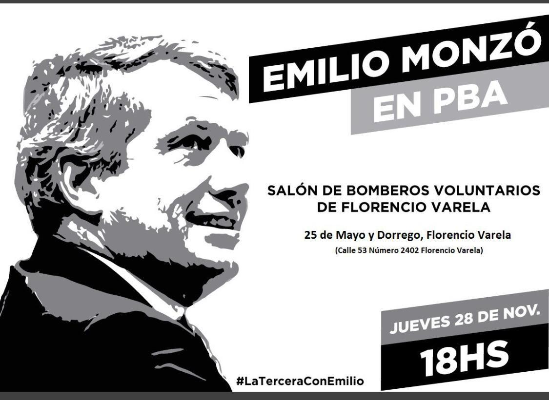 El afiche convocando al acto con Monzó.